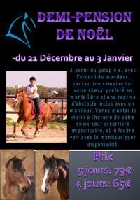 Demi-pension de Noël du 21/12 au 03/01 au centre équestre de Maurecourt